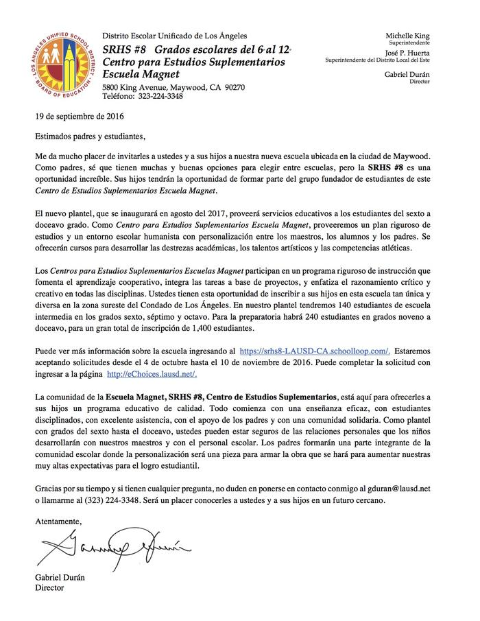 SRHS 8 Welcome Letter SPANISH.jpg